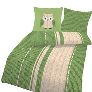 Schöne Bettwäsche aus Biber - grün 155x220 von Ido