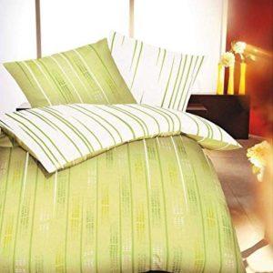 Schöne Bettwäsche aus Biber - grün 155x220 von Kaeppel