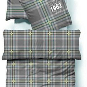 Traumhafte Bettwäsche aus Biber - grün 155x220 von TOM TAILOR