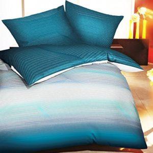 Kuschelige Bettwäsche aus Biber - petrol 135x200 von Kaeppel