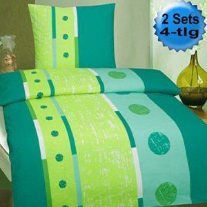 Schöne Bettwäsche aus Biber - petrol 135x200 von KH-Haushaltshandel