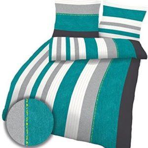 Schöne Bettwäsche aus Biber - petrol 155x220 von Ido