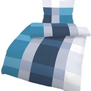 Hübsche Bettwäsche aus Biber - petrol 155x220 von Ido