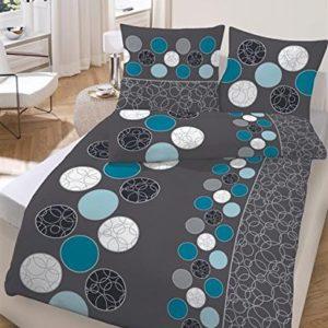 Hübsche Bettwäsche aus Biber - petrol 155x220 von Soma