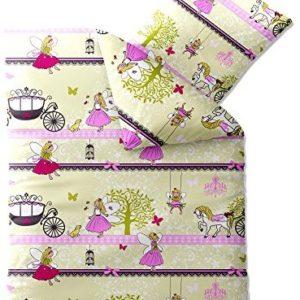 Hübsche Bettwäsche aus Biber - rosa 135x200 von CelinaTex