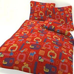 Traumhafte Bettwäsche aus Biber - rot 100x135 von P.K.