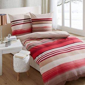 Schöne Bettwäsche aus Biber - rot 135x200 von Kaeppel