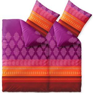 Hübsche Bettwäsche aus Biber - rot 155x220 von CelinaTex