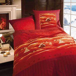Traumhafte Bettwäsche aus Biber - rot 155x220 von Kaeppel