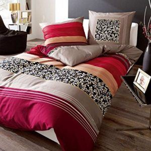 Hübsche Bettwäsche aus Biber - rot 155x220 von Kaeppel