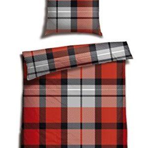 Hübsche Bettwäsche aus Biber - rot 155x220 von Schiesser