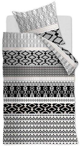 Kuschelige Bettwäsche aus Biber - schwarz 135x200 von Ambiante
