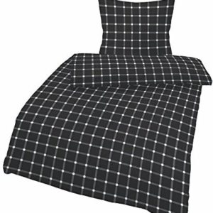 Traumhafte Bettwäsche aus Biber - schwarz weiß 155x220 von Ido