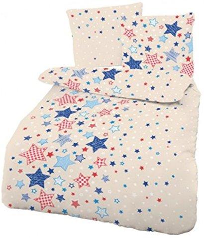 traumhafte bettw sche aus biber sterne blau 135x200 von cmfashion bettw sche. Black Bedroom Furniture Sets. Home Design Ideas