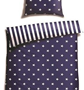 Schöne Bettwäsche aus Biber - Sterne blau 135x200 von Schiesser