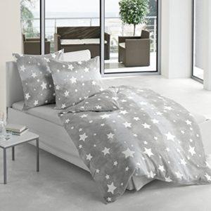 Schöne Bettwäsche aus Biber - Sterne grau 135x200 von Bierbaum
