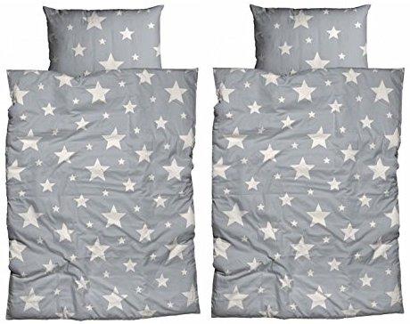 kuschelige bettw sche aus biber sterne grau 135x200 von. Black Bedroom Furniture Sets. Home Design Ideas