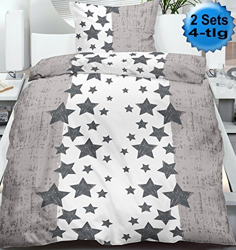 sch ne bettw sche aus biber sterne grau 135x200 von kh haushaltshandel bettw sche. Black Bedroom Furniture Sets. Home Design Ideas