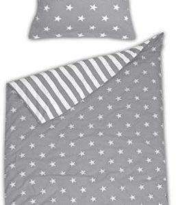 Kuschelige Bettwäsche aus Biber - Sterne grau 155x220 von Schiesser