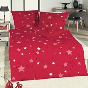 Kuschelige Bettwäsche aus Biber - Sterne rot 135x200 von RF My Home