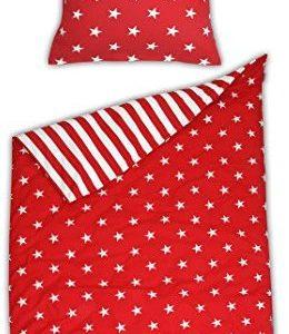 Hübsche Bettwäsche aus Biber - Sterne rot 135x200 von Schiesser