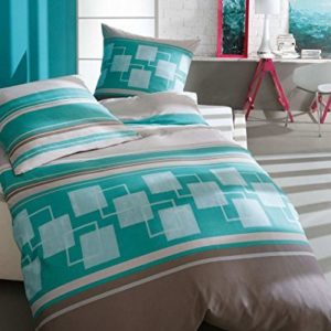 Kuschelige Bettwäsche aus Biber - türkis 155x220 von Kaeppel
