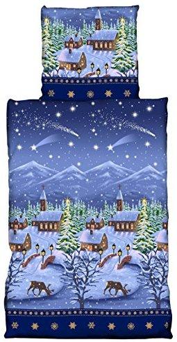h bsche bettw sche aus biber weihnachten blau 135x200 von one home bettw sche. Black Bedroom Furniture Sets. Home Design Ideas