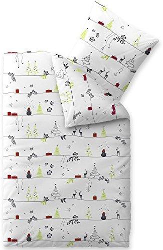 traumhafte bettw sche aus biber weihnachten grau 155x220. Black Bedroom Furniture Sets. Home Design Ideas