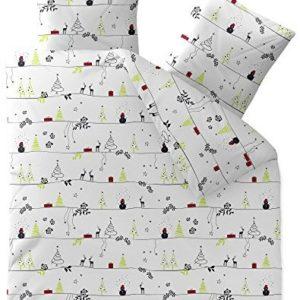 Hübsche Bettwäsche aus Biber - Weihnachten grau 200x220 von CelinaTex