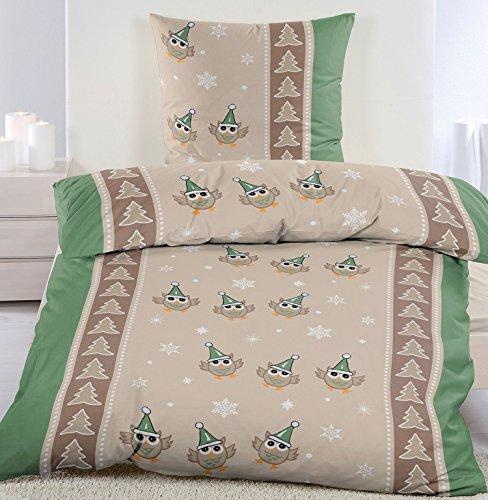 traumhafte bettw sche aus biber weihnachten gr n 135x200 von kh haushaltshandel bettw sche. Black Bedroom Furniture Sets. Home Design Ideas