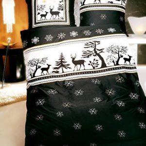 Schöne Bettwäsche aus Biber - Weihnachten schwarz weiß 200x200 von Kaeppel