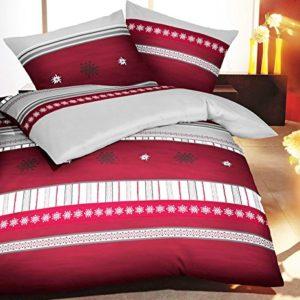 Hübsche Bettwäsche aus Biber - weiß 155x220 von Kaeppel