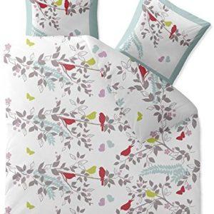 Hübsche Bettwäsche aus Biber - weiß 200x200 von CelinaTex