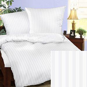 Kuschelige Bettwäsche aus Damast - weiß 135x200 von Bettwaren-XXL