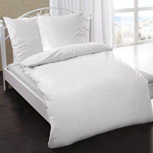 Kuschelige Bettwäsche aus Damast - weiß 135x200 von Dormisette