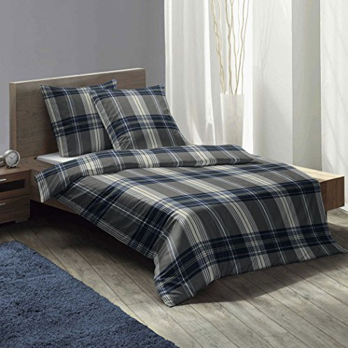 sch ne bettw sche aus flanell blau 135x200 von fleuresse bettw sche. Black Bedroom Furniture Sets. Home Design Ideas