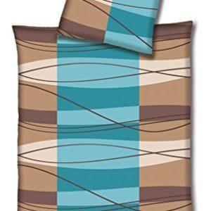 Hübsche Bettwäsche aus Flanell - blau 135x200 von Hahn Haustextilien