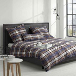 Kuschelige Bettwäsche aus Flanell - blau 155x220 von elegante