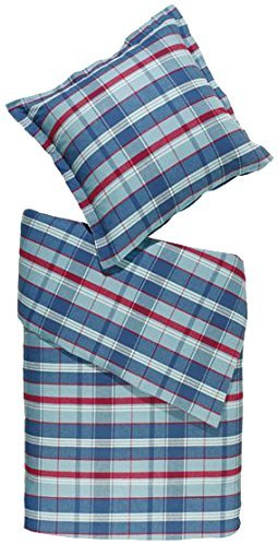 Hübsche Bettwäsche aus Flanell - blau 155x220 von Meradiso