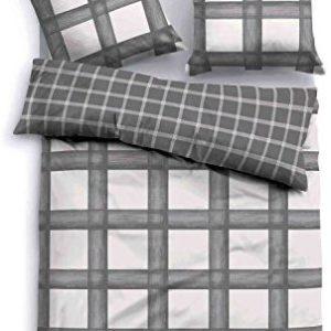 Traumhafte Bettwäsche aus Flanell - grau 155x220 von