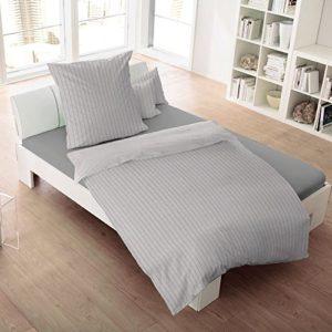 Schöne Bettwäsche aus Flanell - grau 155x220 von Dormisette