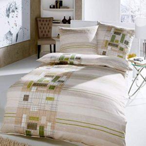 Traumhafte Bettwäsche aus Flanell - grün 135x200 von Kaeppel