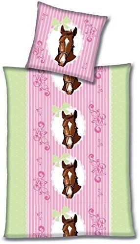 sch ne bettw sche aus flanell pferde rosa 135x200 von aminata kids bettw sche. Black Bedroom Furniture Sets. Home Design Ideas