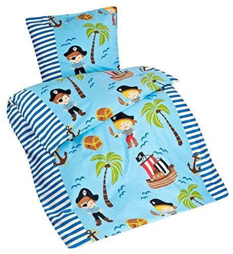 sch ne bettw sche aus flanell piraten blau 135x200 von aminata kids bettw sche. Black Bedroom Furniture Sets. Home Design Ideas