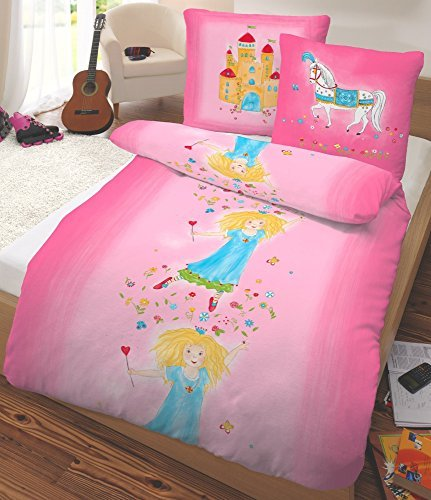 sch ne bettw sche aus flanell prinzessin rosa 135x200. Black Bedroom Furniture Sets. Home Design Ideas
