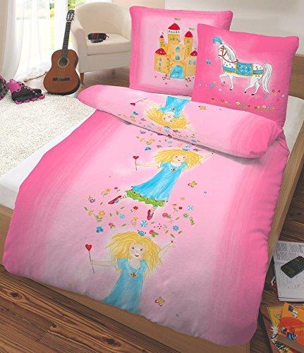 sch ne bettw sche aus flanell prinzessin rosa 135x200 von dobnig bettw sche. Black Bedroom Furniture Sets. Home Design Ideas