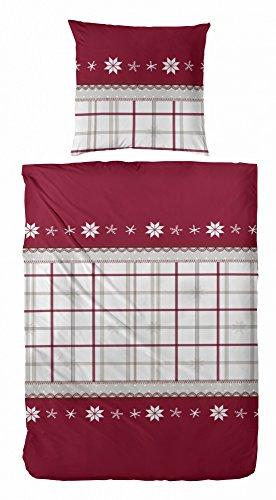Hübsche Bettwäsche aus Flanell - rot 155x220 von Hahn