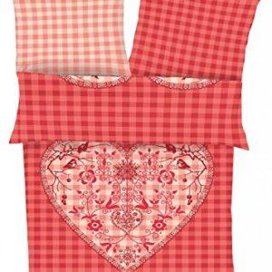 Kuschelige Bettwäsche aus Flanell - rot 155x220 von Ibena