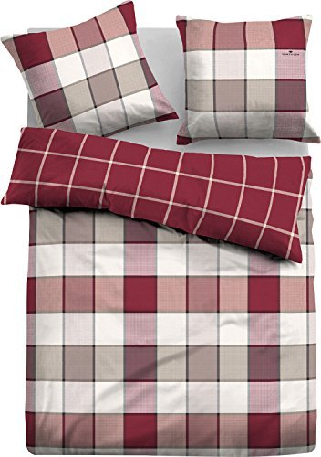 sch ne bettw sche aus flanell rot 155x220 von tom tailor. Black Bedroom Furniture Sets. Home Design Ideas