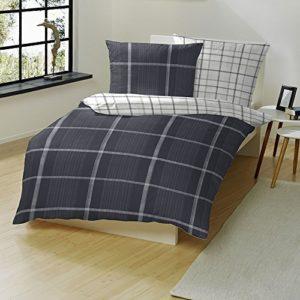 Traumhafte Bettwäsche aus Flanell - schwarz 155x220 von Hahn
